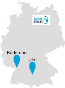 Deutschlandkarte mit Ulm und Karlsruhe